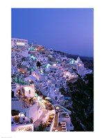 Night, Santorini, Thira (Fira), Cyclades Islands, Greece Framed Print