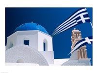 Santorini, Oia , Cyclades Islands, Greece With Flag Fine Art Print