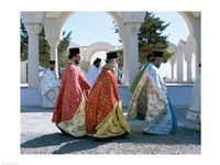 Greek Orthodox, Priests, Santorini, Thira (Fira), Cyclades Islands, Greece Fine Art Print