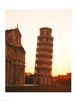 Tower at sunrise, Leaning Tower, Pisa, Italy Fine Art Print