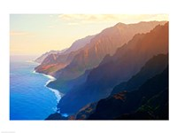 Mountain range at sunrise, Na Pali Coast, Kauai, Hawaii, USA Framed Print