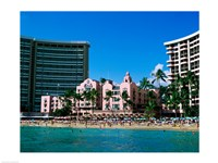 Hotel on the beach, Royal Hawaiian Hotel, Waikiki, Oahu, Hawaii, USA Fine Art Print