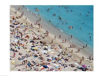 Aerial view of people at the beach, Waikiki Beach, Honolulu, Oahu, Hawaii, USA Fine Art Print