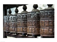 Close-up of prayer wheels, Kathmandu, Nepal Fine Art Print