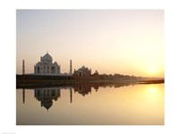 Silhouette of the Taj Mahal at sunset, Agra, Uttar Pradesh, India Fine Art Print
