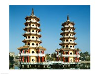 Facade of a pagoda, Dragon and Tiger Pagoda, Lotus Lake, Kaohsiung, Taiwan Fine Art Print
