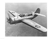 High angle view of a fighter plane in flight, Curtiss SB2C Helldiver, December 1941 Fine Art Print
