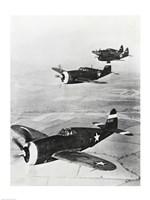 Three fighter planes in flight, P-47 Thunderbolt Fine Art Print