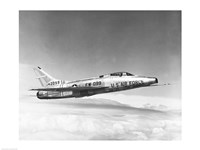 Side profile of a fighter plane in flight, F-100C Super Sabre Fine Art Print