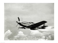 Low angle view of a military airplane in flight, F-51 Mustang Framed Print