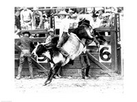 Side profile of a cowboy riding a bull at a rodeo Fine Art Print