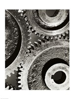 Close-up of interlocked gears Fine Art Print
