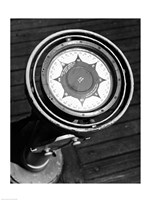 Close up of compass on deck of boat, Compass-Gyro Repeater Fine Art Print