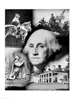 George Washington's face superimposed over a montage of pictures depicting American history, USA Fine Art Print