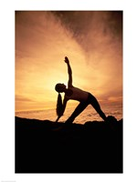 Silhouette of Yoga Pose Extended Triangle Fine Art Print