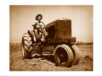 Farmer Plowing a Field with a Tractor Fine Art Print