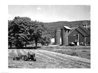 Tractor Raking a Field, East Ryegate, Vermont, USA Fine Art Print