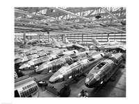 Incomplete Bomber Planes on the Final Assembly Line in an Airplane Factory, Wichita, Kansas, USA Fine Art Print