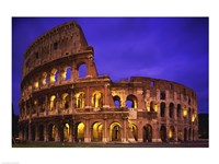 Low angle view of a coliseum lit up at night, Colosseum, Rome, Italy Fine Art Print