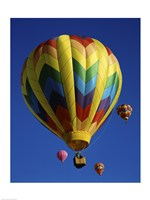 Yellow Rainbow Hot Air Balloon Fine Art Print