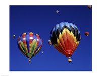 Two Hot Air Balloons Flying Away Together Fine Art Print