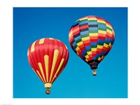 2 Rainbow Hot Air Balloons Floating Together Fine Art Print