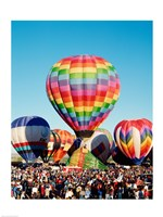 Floating hot air balloons, Albuquerque International Balloon Fiesta, Albuquerque, New Mexico, USA Fine Art Print