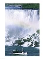 Boat in front of a waterfall, American Falls, Niagara Falls, New York, USA Fine Art Print