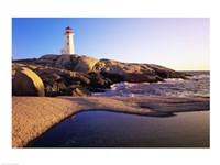 Lighthouse on the coast, Peggy's Cove Lighthouse, Peggy's Cove, Nova Scotia, Canada Fine Art Print