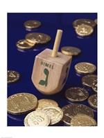 Close-up of a Hanukkah dreidel with Hanukkah gelts Fine Art Print