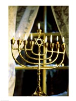 Close-up Of Lit Candles On A Menorah And Window Fine Art Print