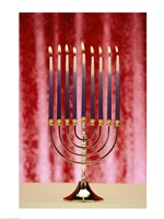 Close-up Of Lit Candles On A Menorah On Red Fine Art Print