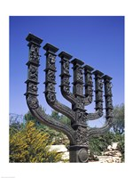 Low angle view of a menorah, Knesset Menorah, Jerusalem, Israel Framed Print
