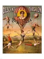 Descente d'Absalon par Miss Stena, Circus Poster, 1890 Framed Print