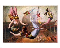 Trapeze Artists in Circus Framed Print