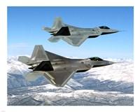 Two F-22 Raptor in Flying Fine Art Print