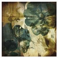Vintage Teal Blooms I Fine Art Print