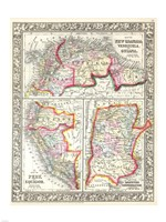 1860 Mitchell's Map of Peru, Ecuador, Venezuela, Columbia and Argentina Fine Art Print
