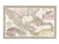 1866 Mitchell Map of Mexico and the West Indies Fine Art Print