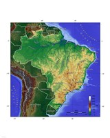 Brasilien Map Fine Art Print