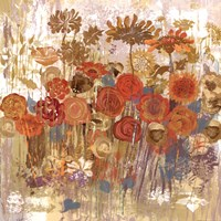 Floral Frenzy II - orange Fine Art Print