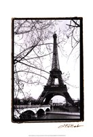 Eiffel Tower Along the Seine River Framed Print