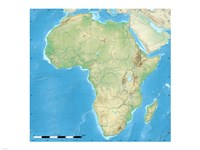 Africa Relief Location Map Fine Art Print