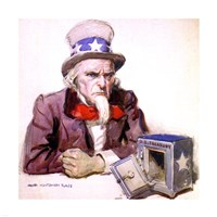 James Montgomery Flagg  -Uncle Sam With Empty Treasury 1920 Fine Art Print