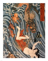 Tamatori Being Pursued by a Dragon Fine Art Print