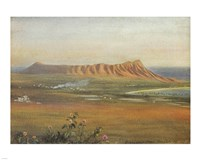 Edward Clifford (1844-1907) - 'DiamondHead, Honolulu', watercolor painting, 1888 Framed Print