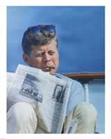 President Kennedy Reading the New York Times Framed Print