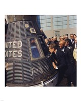 JFK Inspects Mercury Capsule Framed Print