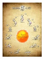 Yoga Cow Sun Salutation Framed Print