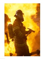 Side profile of a firefighter (holding axe) Fine Art Print